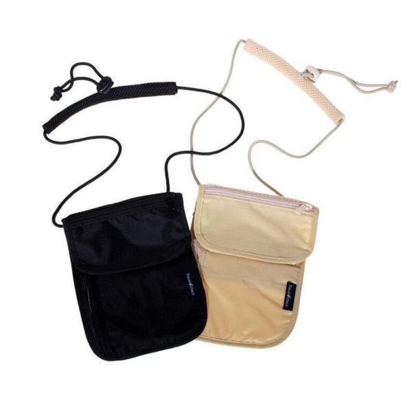 Unisex Money Purse Neck Purse Wallet Travel Storage Bag Money Coin Cards Passport Holder Neck Tickets Bag Pouch KKA2037