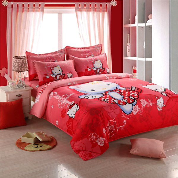 Wholesale  Red Hello Kitty Bedding Set Children Cotton Polyester Bed Sheets  Hello Kitty Duvet Cover