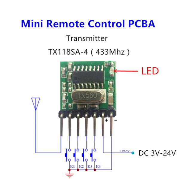 Wholesale-433 mhz Mini Control remoto inalámbrico RF 1527 EV1527 Código de aprendizaje 433mhz Transmisor para puerta de garaje puerta Controlador de luz de alarma