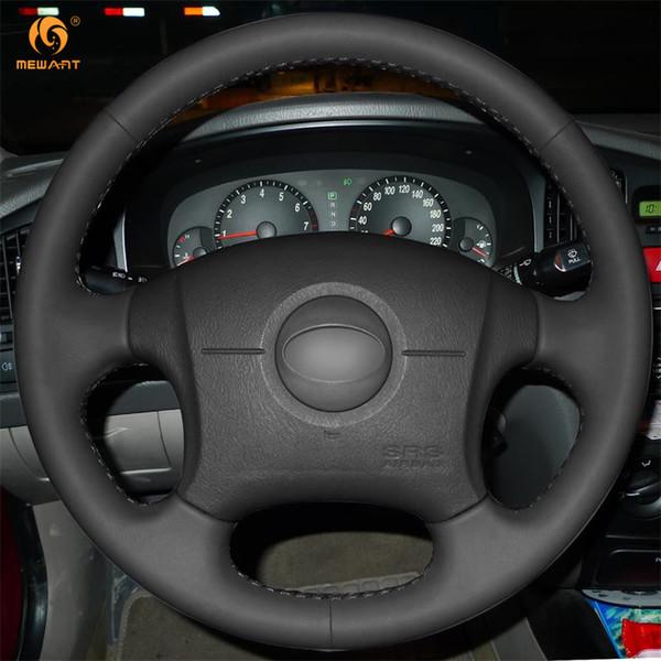 Mewant Black Artificial Leather Car Steering Wheel Cover For Hyundai Elantra 2001 2002 2003 2004 2005 2006 Glitter Steering Wheel Covers Go Kart