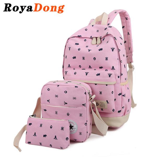 Royadong 2017 Printing Backpacks Set Women Canvas Animal Prints Candy Color Cute Children School Bags For Teenage Girls