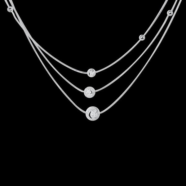 10PCS / lot Freies Verschiffen 925 Sterlingsilber überzog Halskette mit drei Linien drei LKNSPCN220