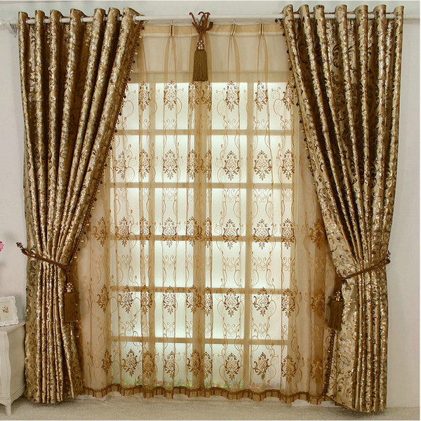 top popular NEW ARRIVAL Europen Style LUXURY Palace Curtain With Beads For Hotel Villa Living Room Custom-made Golden Ivory Dark Brown 2020