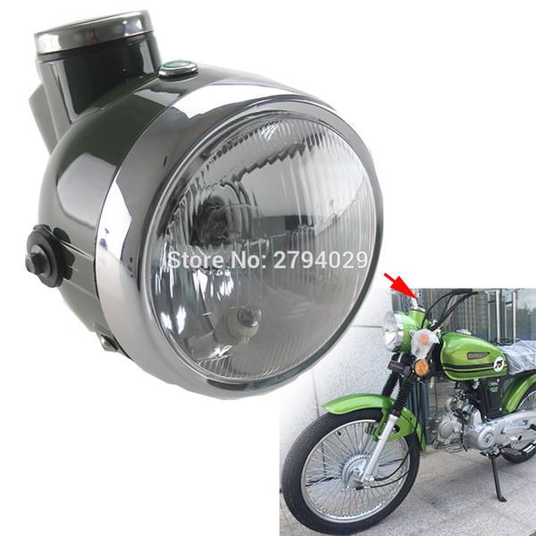 New Military Green Retro Headlight with Speedometer MPH Fits for Chopper Universal Motorcycle Custom Honda Yamaha Suzuki