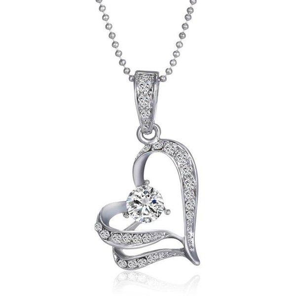 Pendant Necklaces statement Jewelry women party necklaces Chains Swarovski Crystal Silver Love Heart Leaves Pendant Chain For Wedding Bridal