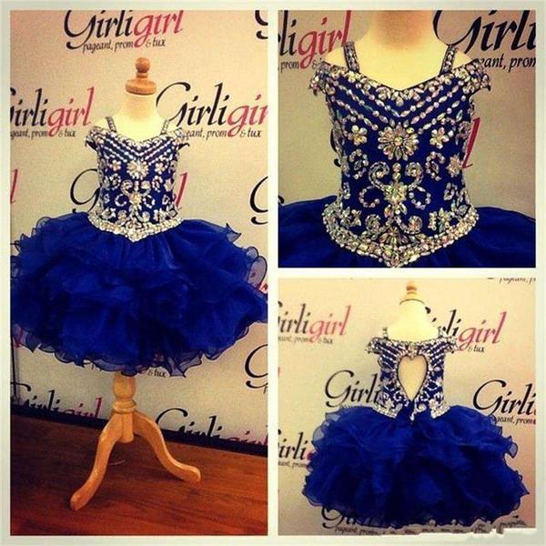 2018 Pageant Dress for teen Princess Little Girls toddler infant Pageant gown Cupcake Ritzee royal blue Ball Gown Flower Girls' Dress