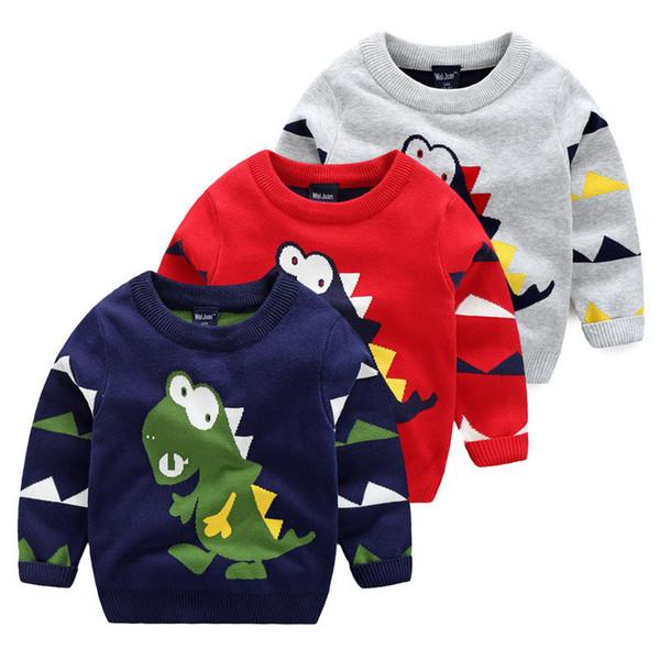 best selling Children's sweater Kids Baby Boys Dinosaur Pullover Long Sleeve Tops T-shirt Sweatshirt Age 2-7Years