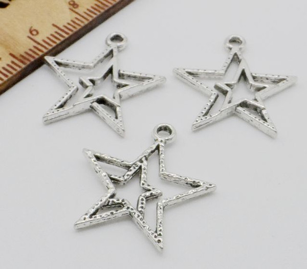 200pcs/lot metal zinc alloy Star Charms Antique silver for DIY jewelry pendant Charms Making Finding 20x20mm