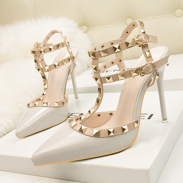 fetish high heels women designer shoes patent leather ladies wedding shoes italian brand rivets gladiator sandals sexy pumps valentine shoes