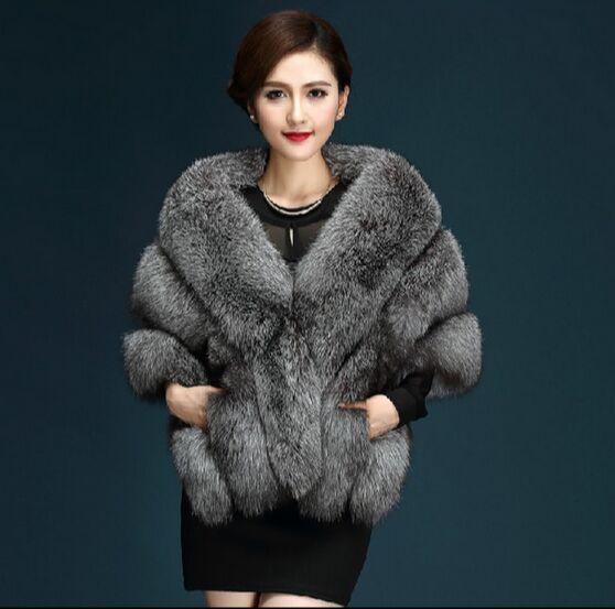 2016 Mais Recente do Inverno Casacos De Pele Do Falso luxo imitação de pele de raposa vison poncho vestido de noiva de noiva xale capa mulheres colete casaco