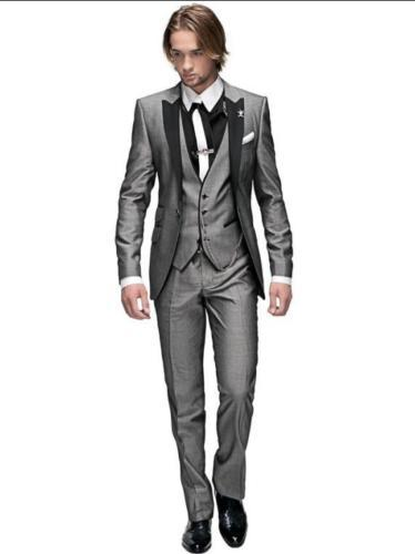 Peak Lapel Best Man Suit Grey Groomsman Men's WeddingProm Suits Groom Tuxedos 3 (jacket + pants + vest) custom
