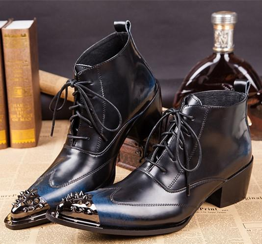 Korean Style Pointed Toe Heighten Men Boots Metal Rivets Toe Black Genuine Leather Motorcycle Boots For Men Business Wedding Shoes