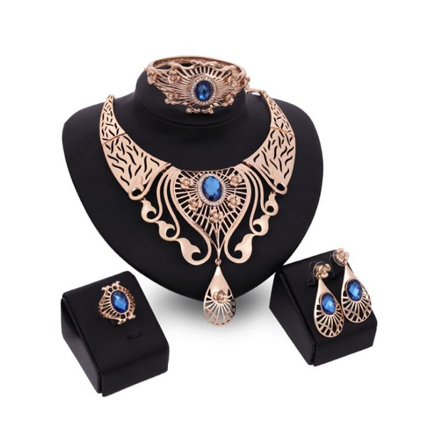 Luxury Bohemian jewelry Set Crystal Rhinestone Hollow Gold Flower Necklace Bracelet Ring Earring Set for women wedding prom engagement party