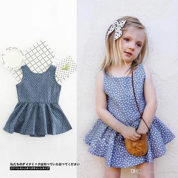 Populäre berühmte Baby-Kleidungs-Sommer-blaue ärmellose Blume kleidet Kleider der Kleider der Marken-Kinder für Kinder freies Shippping