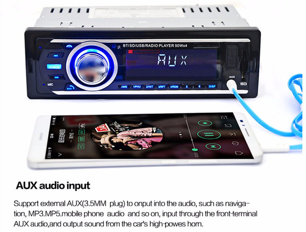 top popular 2016 New Car Radio Auto Audio Stereo 12V FM SD MP3 Player AUX-IN USB with 1 Din Remote Control Vehicle In-Dash Audio Device 2021