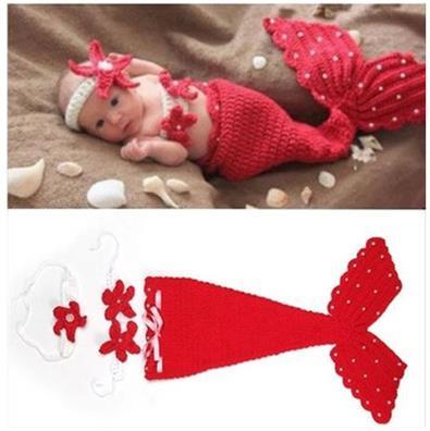 Beautiful Mermaid Newborn Baby Girl Photo Photography Props Infant Handmade Outfits Crochet Knit Cocoon Set Knitted baby Red