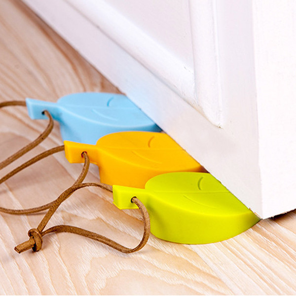 top popular Silicone Door Stopper Wedge Finger Protector - Cute Cartoon Leaf Style Flexible Silicone Window   Door Stops with Lanyard for Home Office 2020