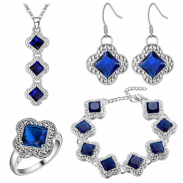 Mystic Zirconium A thick silver plating foreign trade wholesale jewelry blue gem clover BRACELET NECKLACE RING EARRINGS SET