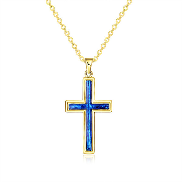 Christmas Gift Gold Plated Cross Pendant Blue Opal Crystal Rolo Chain Necklace for Women Free Shipping
