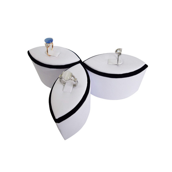 Wholesale White leather Rings Jewelry Display 4pcs/lot Newest style Flower Jewellery Stand Holder Rack Case Showcase