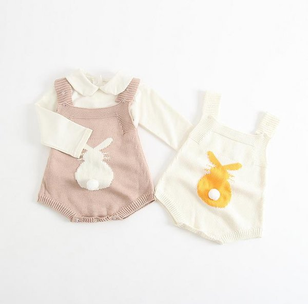Ins New Autumn Infant Baby Knitted Rompers Kids Toddlers Bunny Suspender Onesies Jumpers Children Boys Girls Knitwear Rompers 13414
