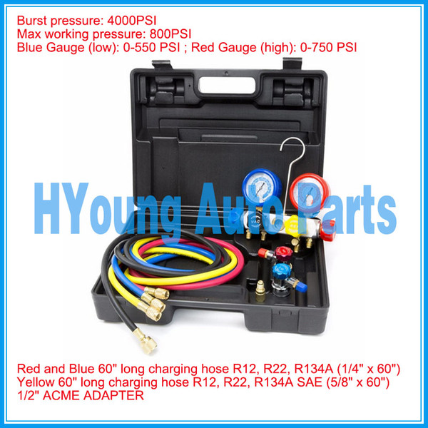 top popular auto air AC Manifold Gauge Set R134a r134 R410A R404A R22 with Hoses Coupler Adapters 2021