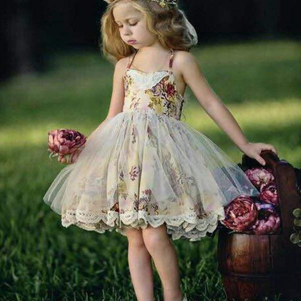 Las niñas de flores visten los niños de encaje estampado floral con cordones de arcos visten las niñas empalme de tul hasta la rodilla vestido de princesa niña ropa de verano T3571