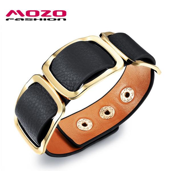 Wholesale-MOZO FASHION Women Charm Trendy Jewelry Black / Orange / Leopard Wide Leather Rope Bracelet Vintage Bangles Party Gifts MPH1004