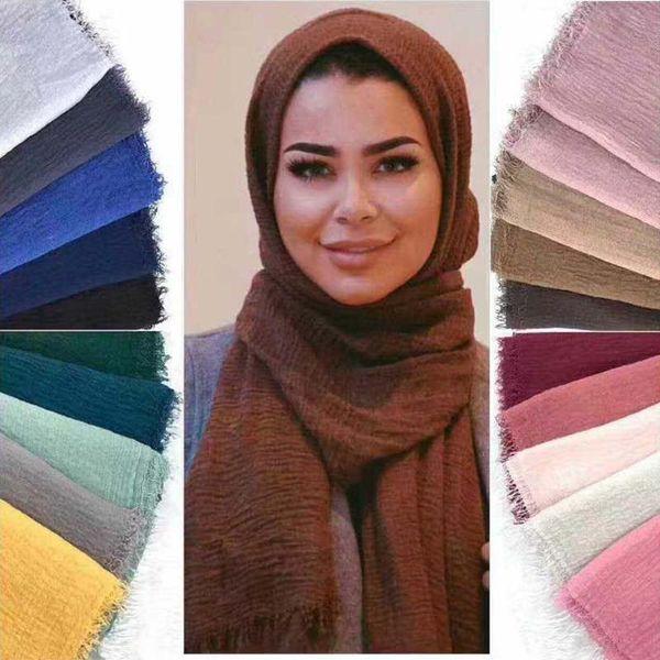 36 Colors Women Hijabs Shawls Oversize Islamic Head Wraps Soft Long Muslim Frayed Crepe Premium Cotton Plain Hijab Scarf 90*200cm