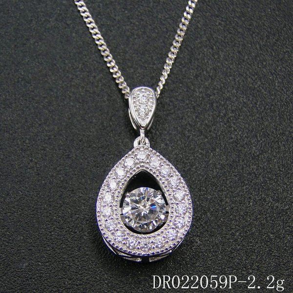 Adam Moda takı 925 Ayar Gümüş Takı Uzun sloshing kalp Sallayarak Kolye Rodyum platin Nişan hediye DR022059P Ücretsiz Kargo