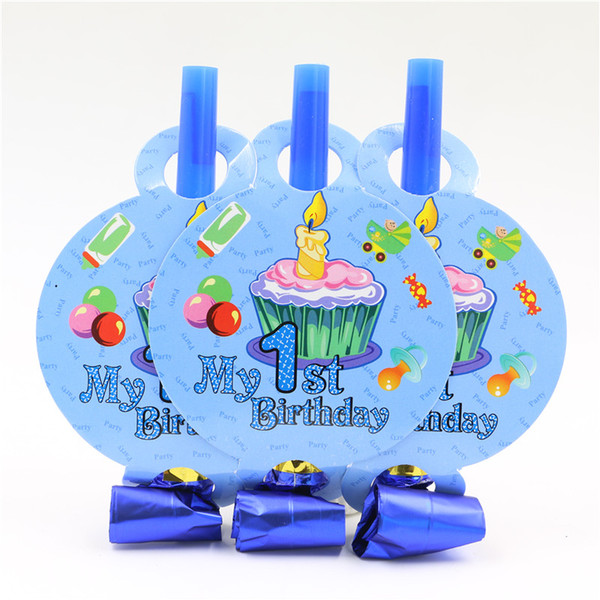 Wholesale-8 pcs/lot blue blowout one year old baby boy kids happy birthday party decoration supplies favor festival noisemaker blow out