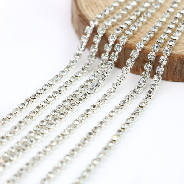 10 meter / roll Rhinestone Chain for Clothing Accessories Cup Chain Cheap Bulk Wholesale G- Sliver Crystal