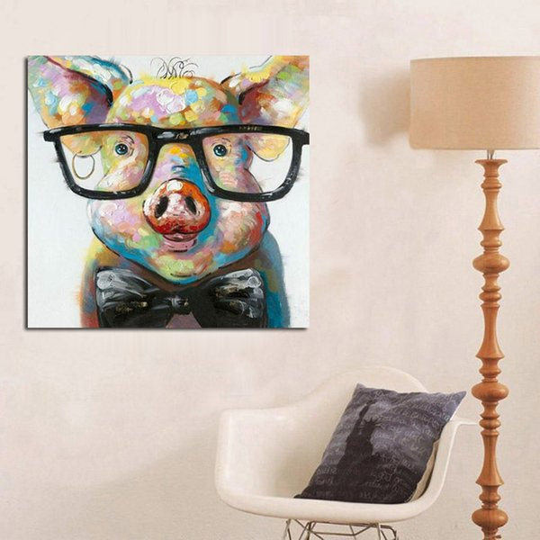 Pure Hand-painted Modern Abstract Graffiti Art Oil Painting Lovely Pig,For Home Wall Decor On High Quality Canvas size can be customized