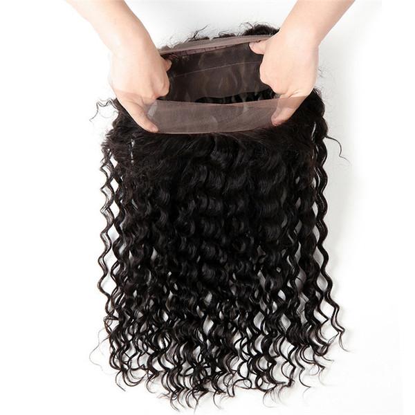 360 кружева фронтальной глубокой волны закрытия бразильский перуанский малайзийский Индийский вьющиеся девственные человеческие волосы полный кружева группа фронтальные закрытия 22.5*4*2 дюйм