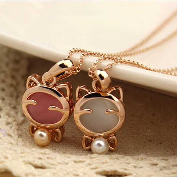 Super cute Lucky cat cat eye with pearl necklace female clavicle chain cat Bow necklace wholesale free shipping
