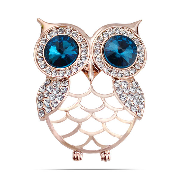 Wholesale- RGP BR303 2016 New Arrival Pins And Brooches Cartoon Gold Plated Crystal Rhinestone Owl Brooch For Women Fashion Jewelry