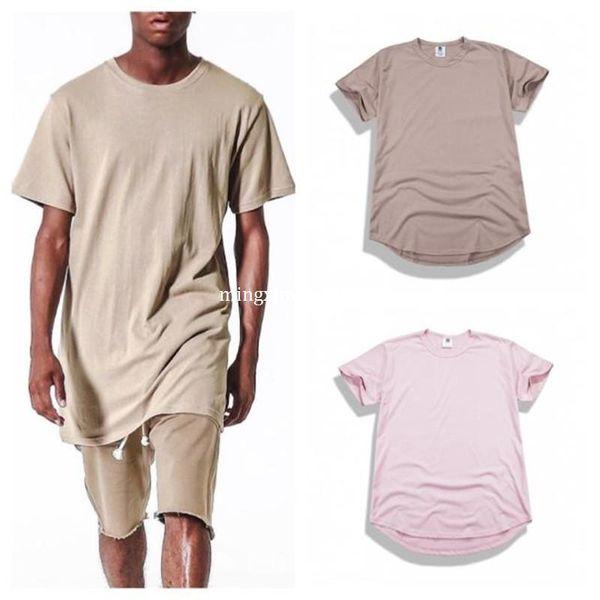 New Curved Hem Hip Hop T-shirt Men Urban Kpop Extended T shirt Plain Longline Mens Tee Shirts Male Clothes Justin Bieber Kanye