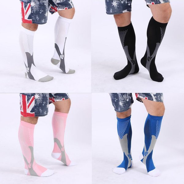 (3 Size / 5 Color) Breathable Outdoor Sports Ball Games Cycling Stretch Socks Leg Support Compression Socks Stocking For Men Women