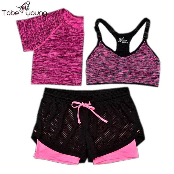 Wholesale-2016 New 3 Pcs Women Yoga Fitness Set Cropped Tops T-Shirt & Bra & Trousers Sports Wear Gym Clothes Training Suit Tracksuits