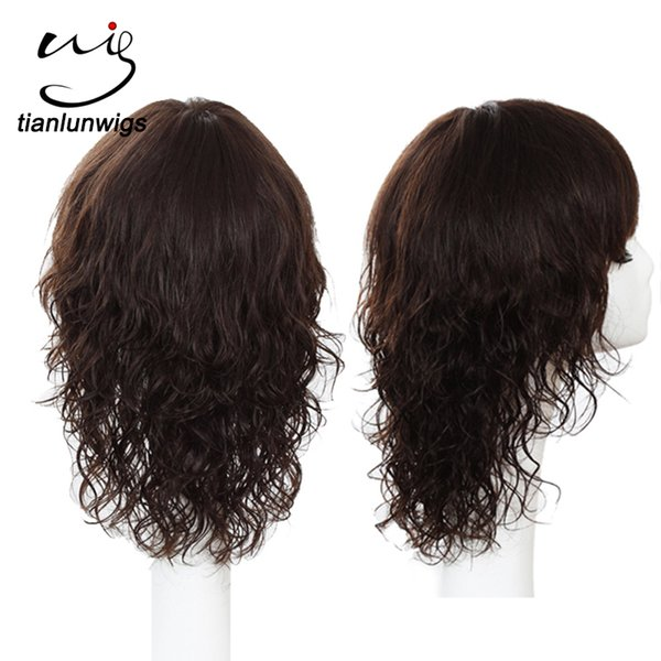 Indian Women Short Hair Wavy Wigs , 100% Human Hair Full Lace Wig With Bangs 12 Inch Brazilian Hair Lace Front Wig
