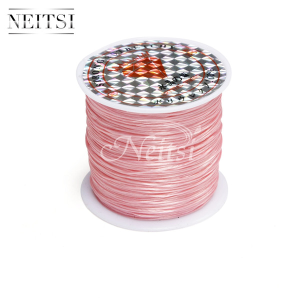 Neitsi Elastic Stretchy Crystal Line Jewelry Beading Thread Hot Selling Hair Extension Tool Light Pink# 50 Meters/pc 5pcs/lot