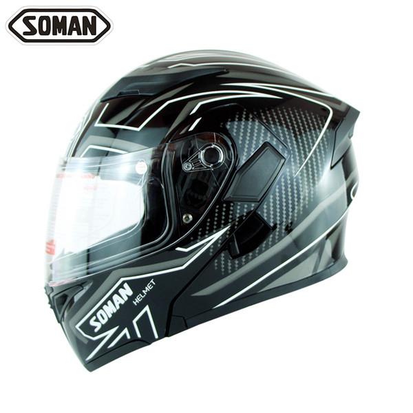 top popular Soman 955 Double Lens Motorcycle Helmets Model K5 Flip up Motorbike Capacetes Casco DOT Approval 2021