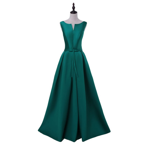 2017 Hot sale elegant green evening dresses V-opening back prom formal party dress vestidos de festa style dress free shipping