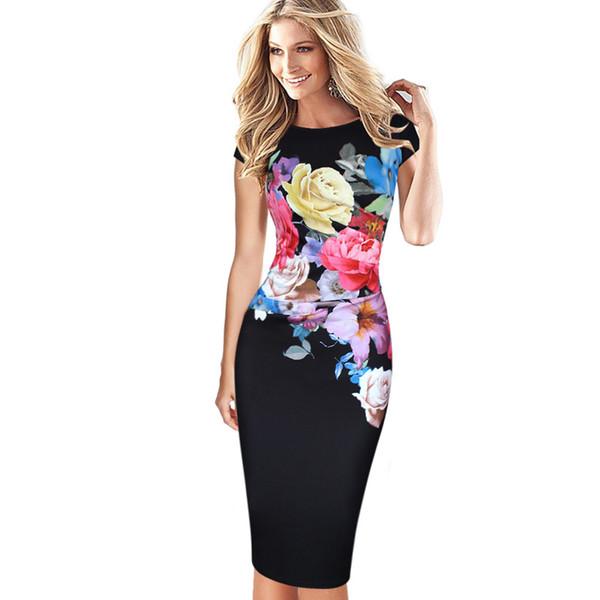 Robes Pour Femmes Elegant Fleur Imprimé Froncé Cap Manches À Volants Casual Demoiselle D'honneur Mère De Robe De Soirée De Mariée 236