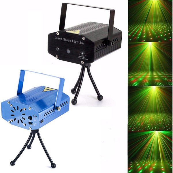 10PC Portable Laser Stage Lights (Red + Green Color) All Sky Star Lighting Mini DJ Laser For Christmas Party Home Wedding Club Projector