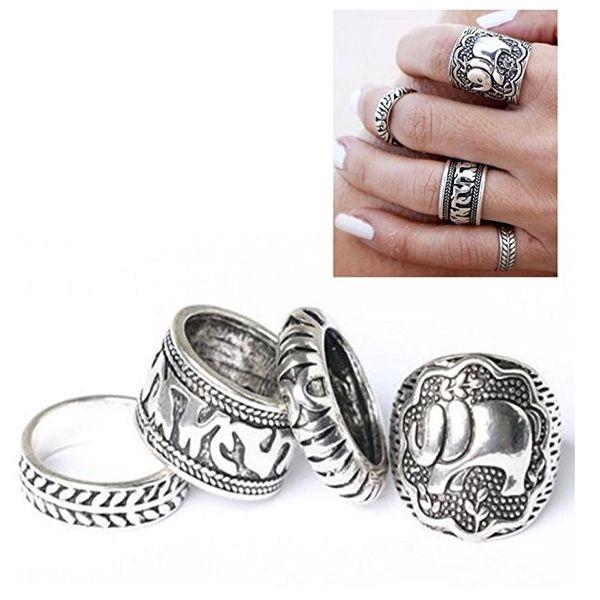4pcs/Set Fashion Women Silver Vintage Jewelry Punk Carve Flower Alloy Ring Set Joint Knuckle 4 Color Metal Snap Charm Jewelry C48L
