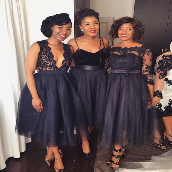 Nigeria Black Lace And Tulle Bridesmaid Dresses 2017-2018 Tea Length Bridesmaid Gowns Spaghetti Deep v Neck Wedding Guest Formal Dress
