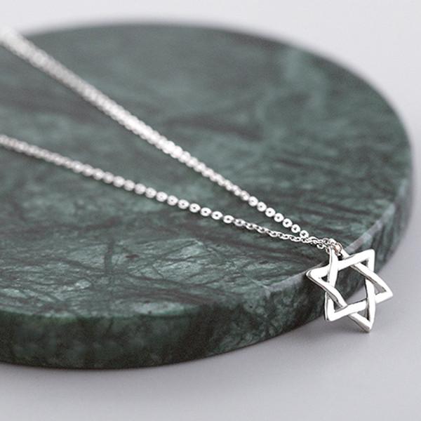5pcs/lot Real Pure 925 Sterling Silver Jewelry Hexagram Hollow 3D Star of David Pendant Necklace Women Statement collar de plata