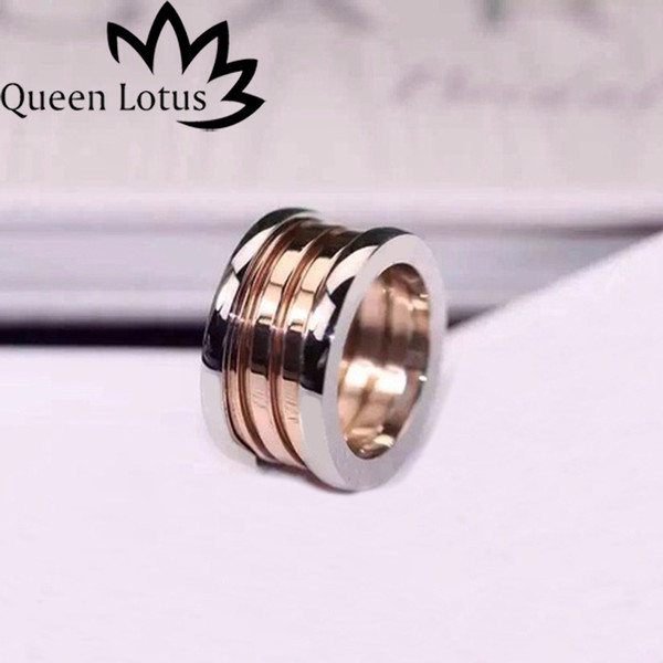 Queen Lotus New Famous Brand Stainless Steel Women Ring 3Colors Plated Fashion Jewelry Wholesale