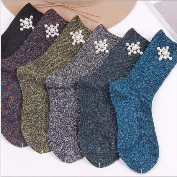 Pearls Pre-design Colorful Glitter Socks Women Cotton Autumn Winter Long Lace Funny Socks Warm Shiny Ladies Harajuku Socks